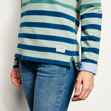 Organic Cotton Striped Quarter-Button Sweatshirt -  image number 4