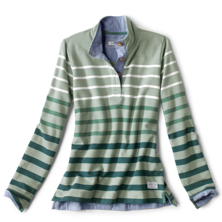 Organic Cotton Striped Quarter-Button Sweatshirt -  image number 5