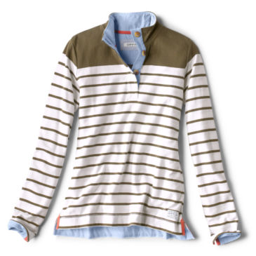 Organic Cotton Striped Quarter-Button Sweatshirt -