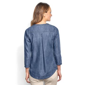 Cotton/Tencel® Popover Shirt - INDIGO image number 3