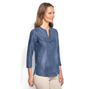 Cotton/Tencel® Popover Shirt - INDIGO image number 2