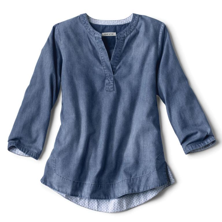 Cotton/Tencel® Popover Shirt - INDIGO image number 0