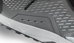 A close-up of the Approach shoe, where the upper meets the outsole.