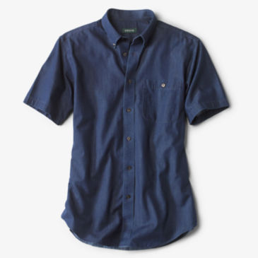 Wrinkle-Free Denim Short-Sleeved Shirt -