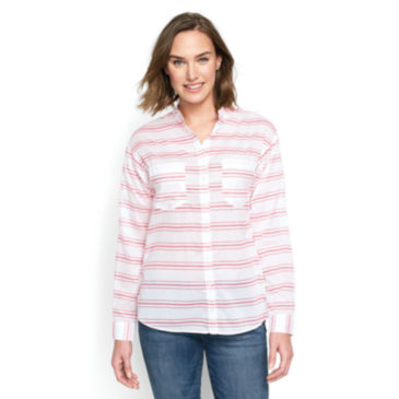 Striped Band Collar Big Shirt -