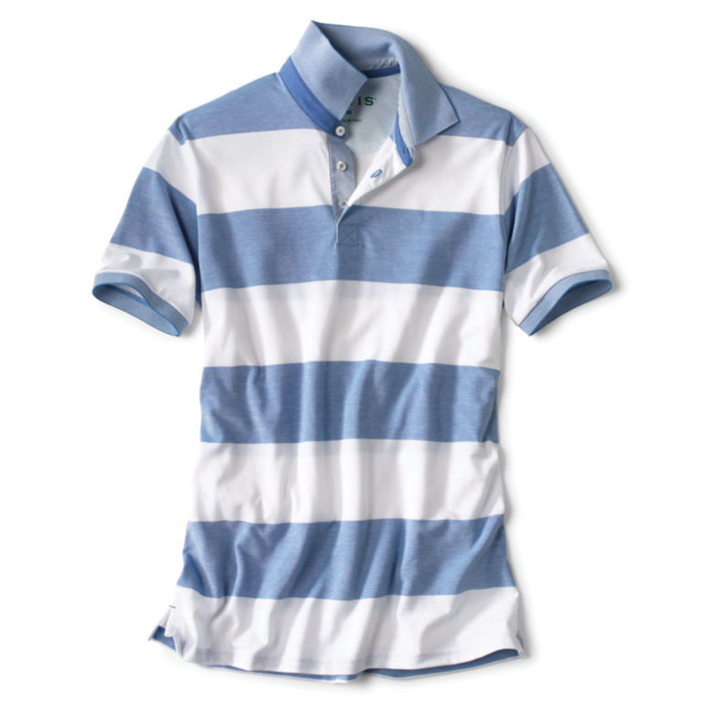 Rugby Stripe Piqué Polo - BLUE/WHITE image number 0