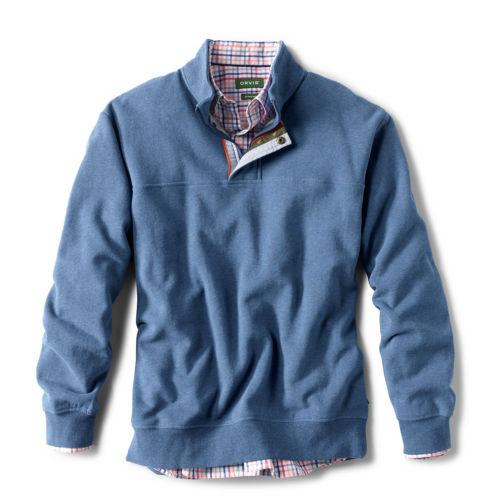 A blue sweatshirt, shown with a button-up shirt inside