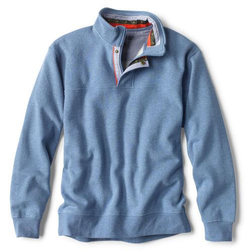 A light blue, collared sweatshirt