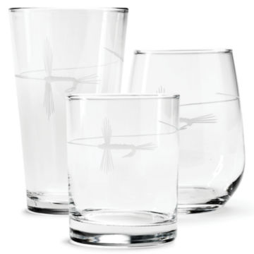 Hand-Etched Fly on The Line Glasses -  image number 0