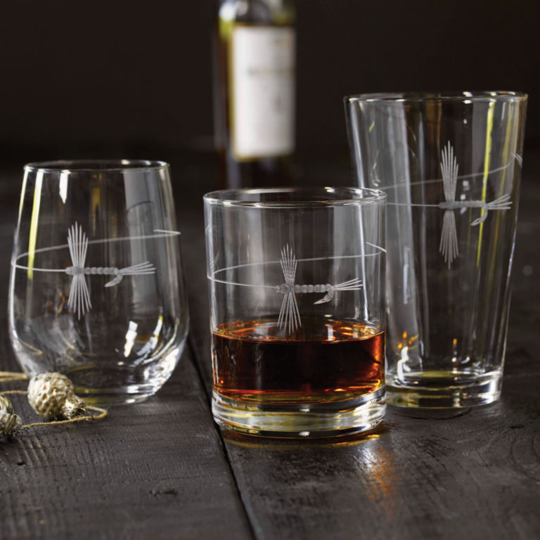Hand-Etched Fly on The Line Glasses -  image number 1
