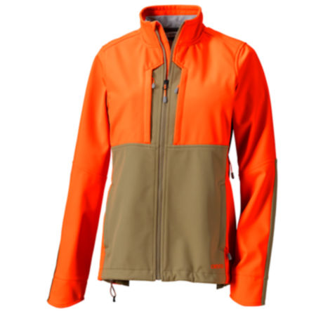 A safety orange and olive drab women's hunting jacket.