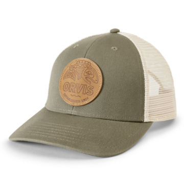 Cascadia Leather Patch Trucker - OLIVE image number 0