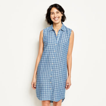 Linen Check Sleeveless Dress -