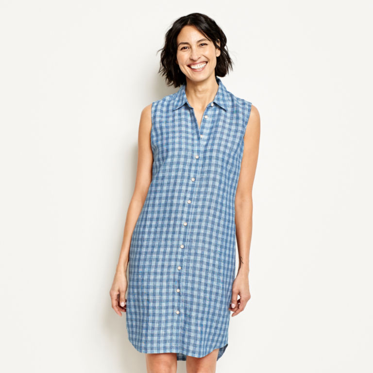 Linen Check Sleeveless Dress -  image number 0