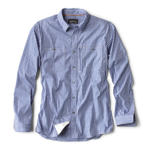 medium blue button-down shirt