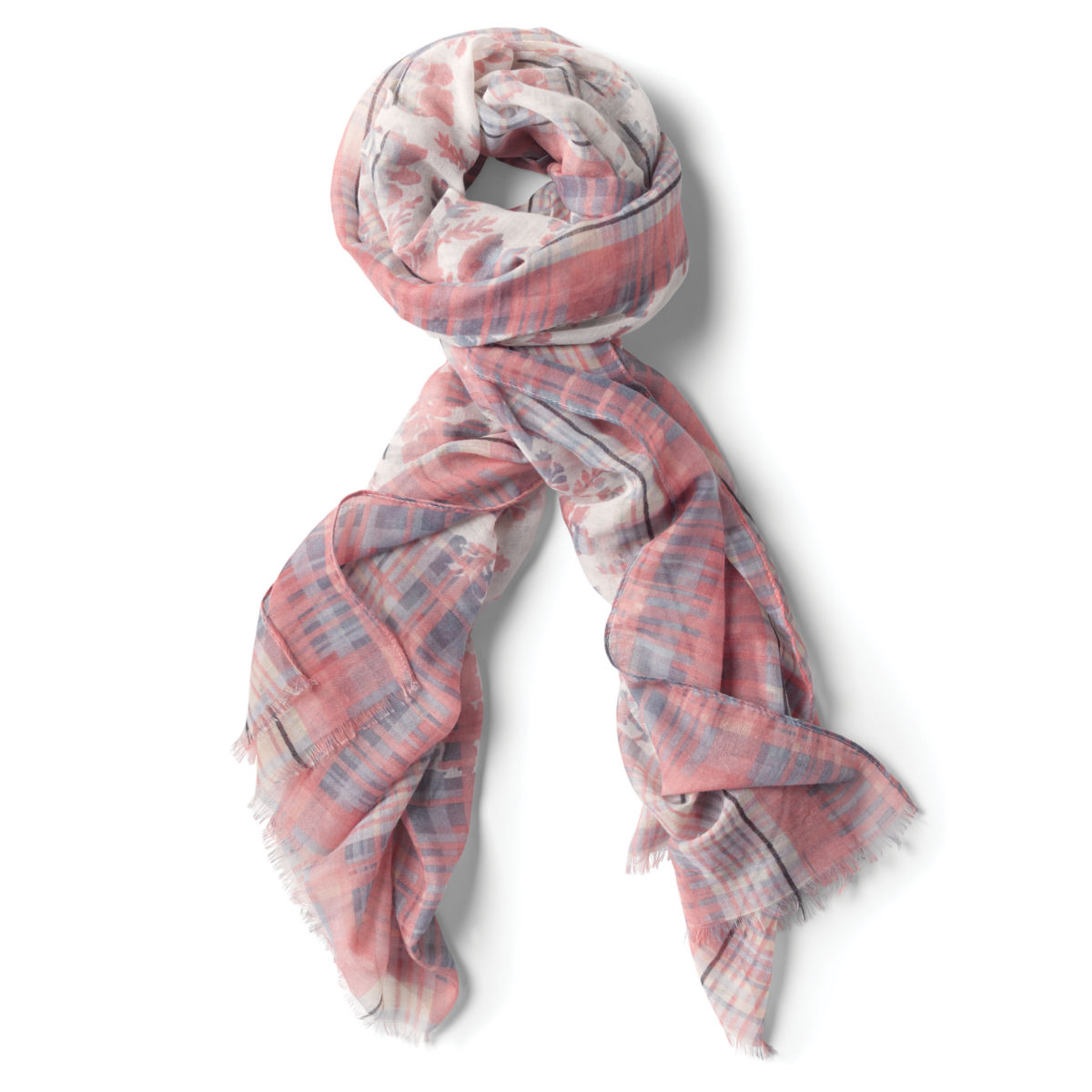 Soft Ombré Floral And Plaid Scarf - image number 0