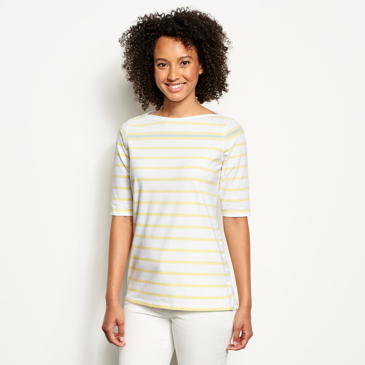 Classic Cotton Elbow-Sleeved Tee - image number 0