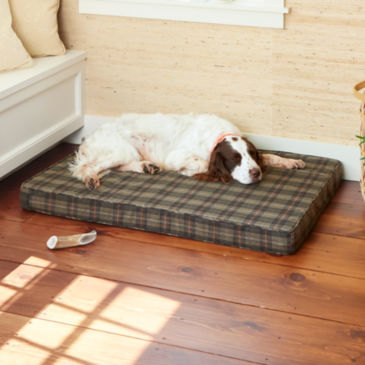 Wool Plaid Memory Foam Platform Dog Bed -