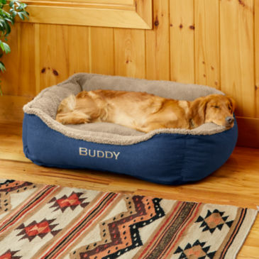 Denim and Shearling Cuddler Dog Bed -
