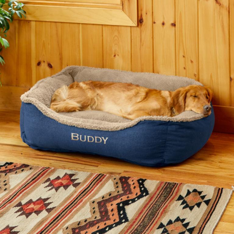 Denim and Shearling Cuddler Dog Bed -  image number 0