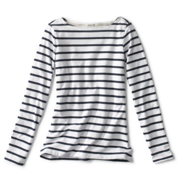 Classic Cotton Boatneck Striped Tee -  image number 0