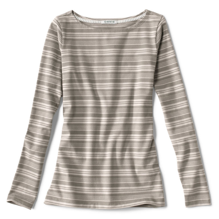 Classic Cotton Boatneck Striped Tee -  image number 4