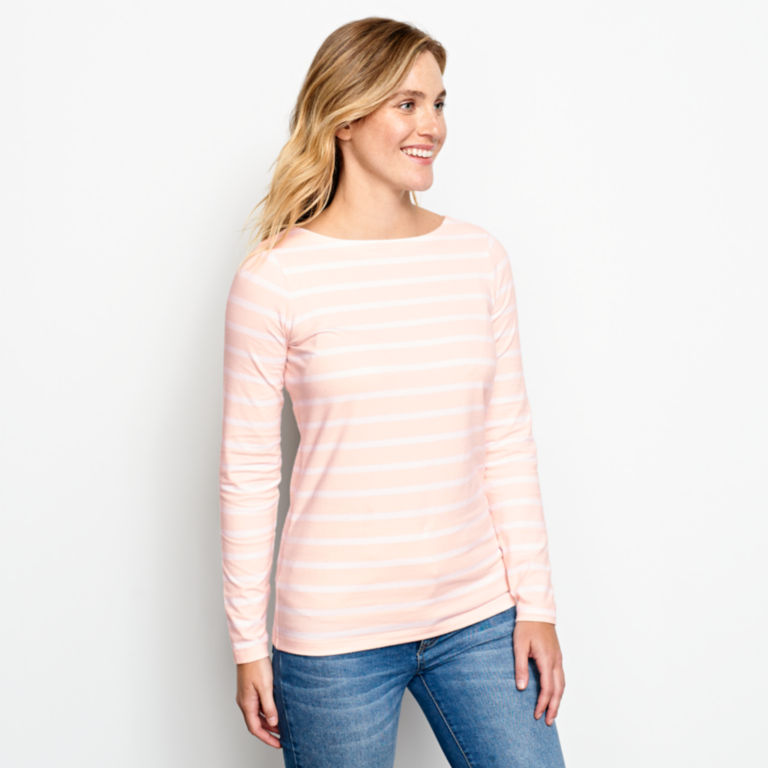 Classic Cotton Boatneck Striped Tee -  image number 1