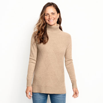 Cashmere Mixed Stitch Tunic Sweater -  image number 0