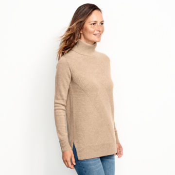 Cashmere Mixed Stitch Tunic Sweater - image number 1