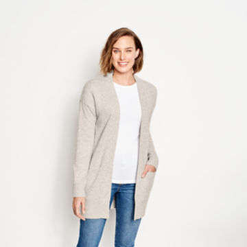 Cashmere Open Front Cardigan Sweater - LIGHT GRAY image number 1