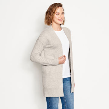 Cashmere Open Front Cardigan Sweater - LIGHT GRAY image number 2