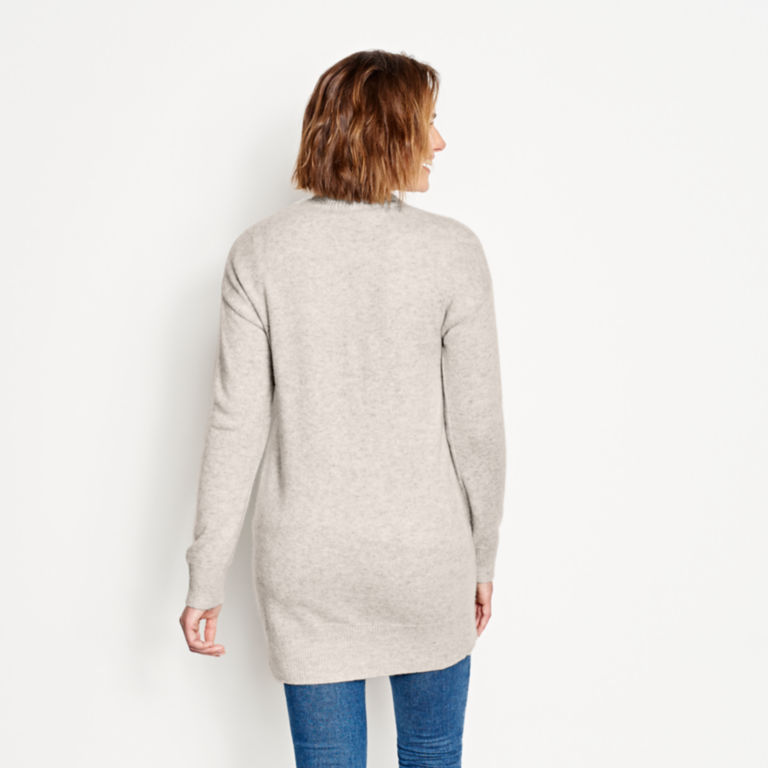 Cashmere Open Front Cardigan Sweater - LIGHT GRAY image number 3