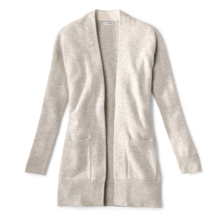 Cashmere Open Front Cardigan Sweater - LIGHT GRAY image number 0