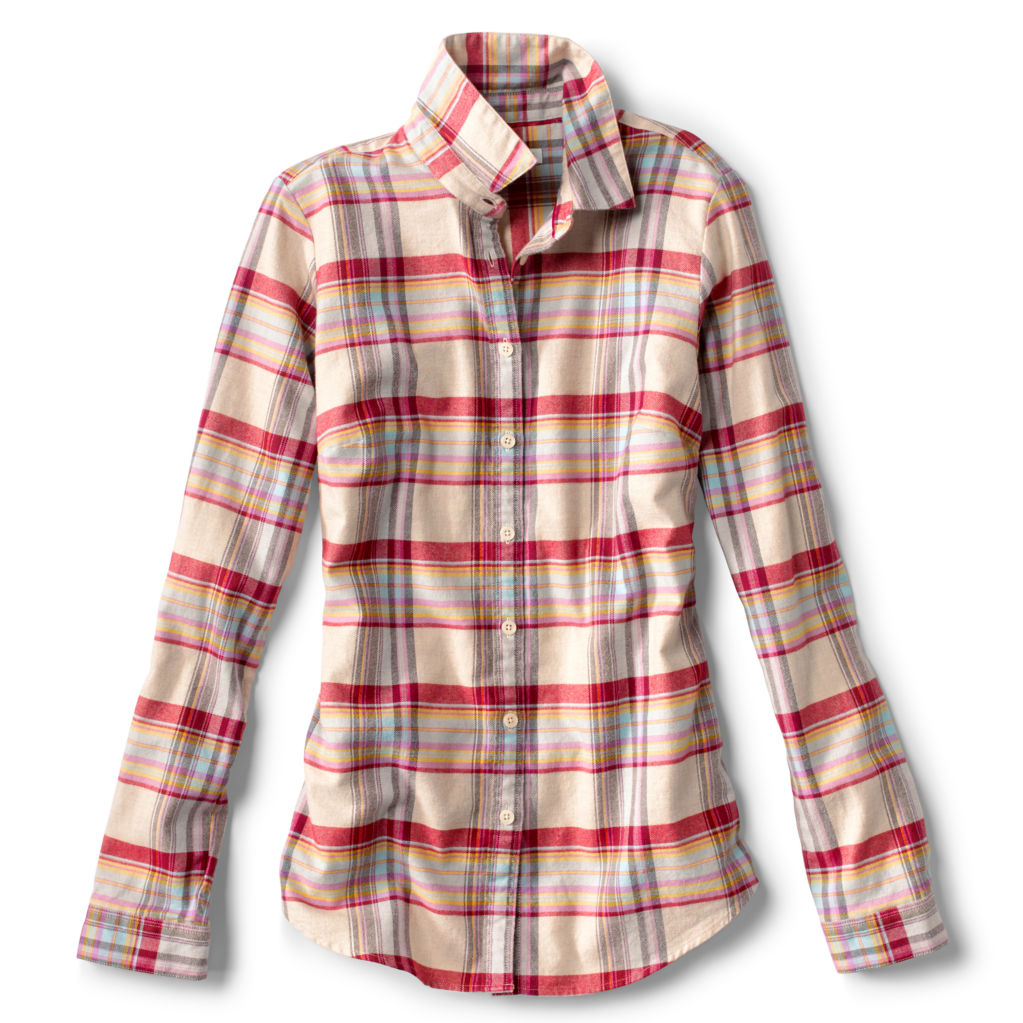 Women's Lodge Flannel shirt in dark natural plaid