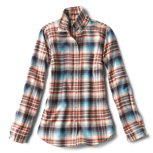 A brown and blue plaid flannel shirt
