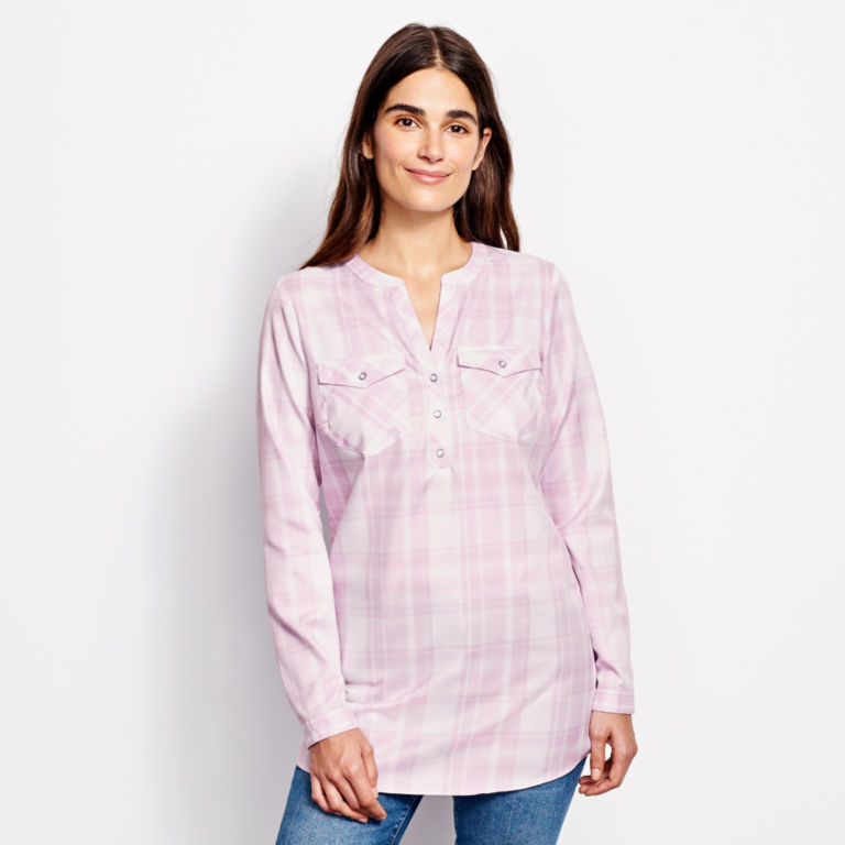 Wrinkle-Free Popover Patterned Tunic -  image number 0