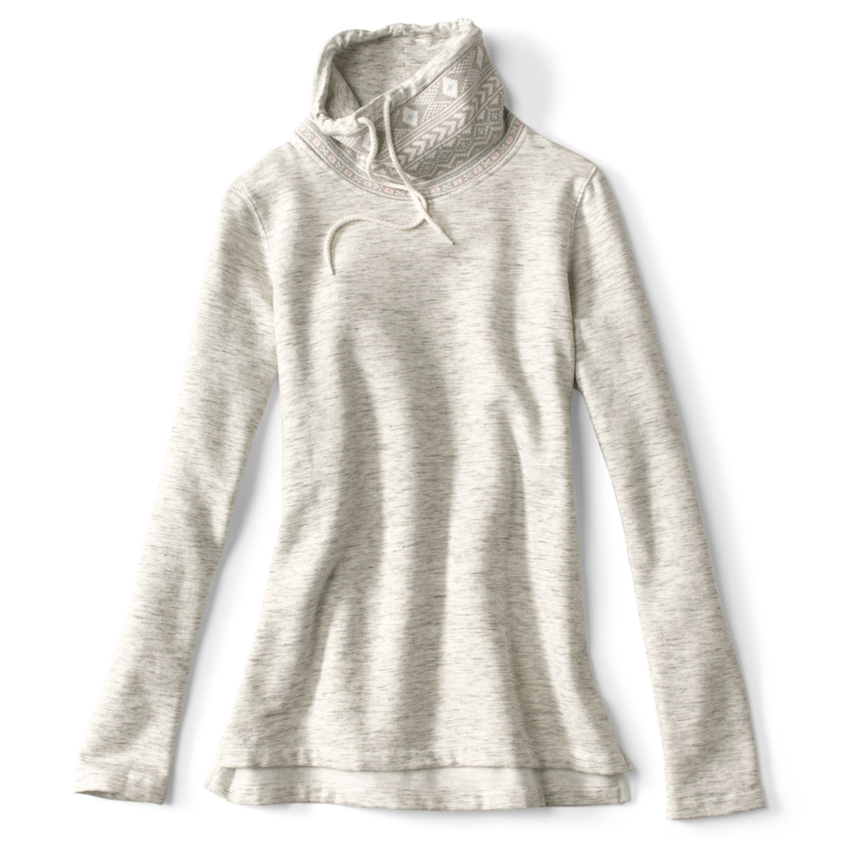Jacquard Cowl Supersoft Sweatshirt - HEATHERED GRAYimage number 0