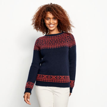 Classic Fair Isle Sweater - NAVY/SPICE image number 1