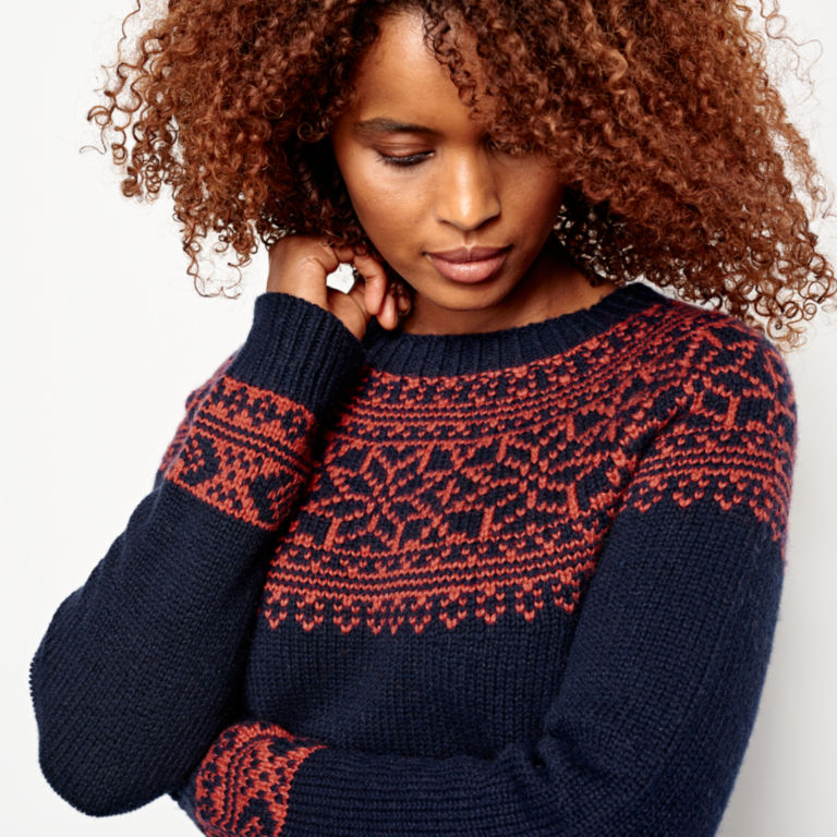 Classic Fair Isle Sweater - NAVY/SPICE image number 4