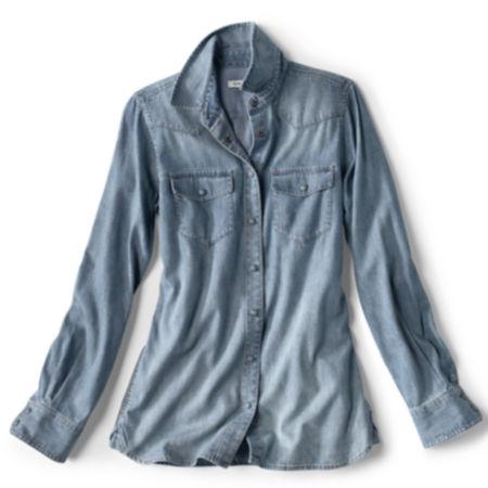laydown of women's Washed Indigo Denim Shirt