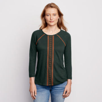 Placed Embroidered Three-Quarter-Sleeved Tee - PINE image number 1