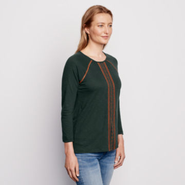 Placed Embroidered Three-Quarter-Sleeved Tee - PINE image number 2