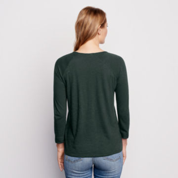 Placed Embroidered Three-Quarter-Sleeved Tee - PINE image number 3