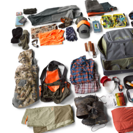 Laydown shot of a duffel bag and gear