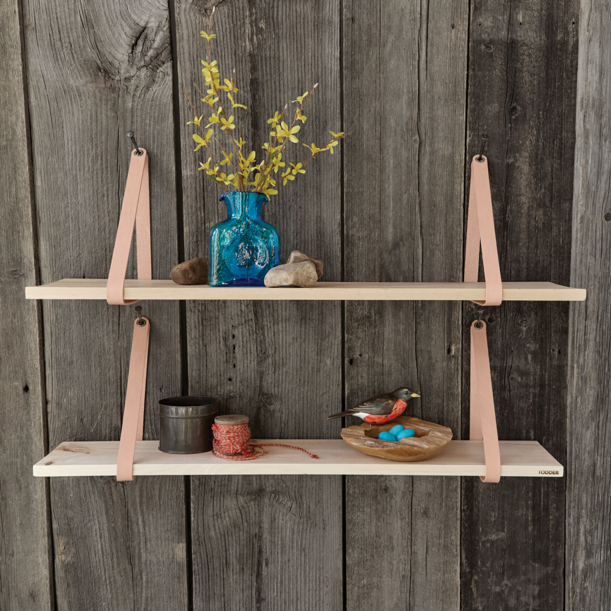 Suspended Wood and Leather Shelf - image number 0