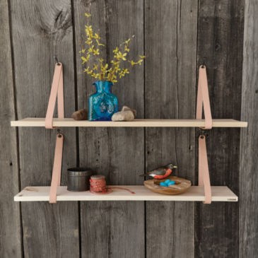 Suspended Wood and Leather Shelf -