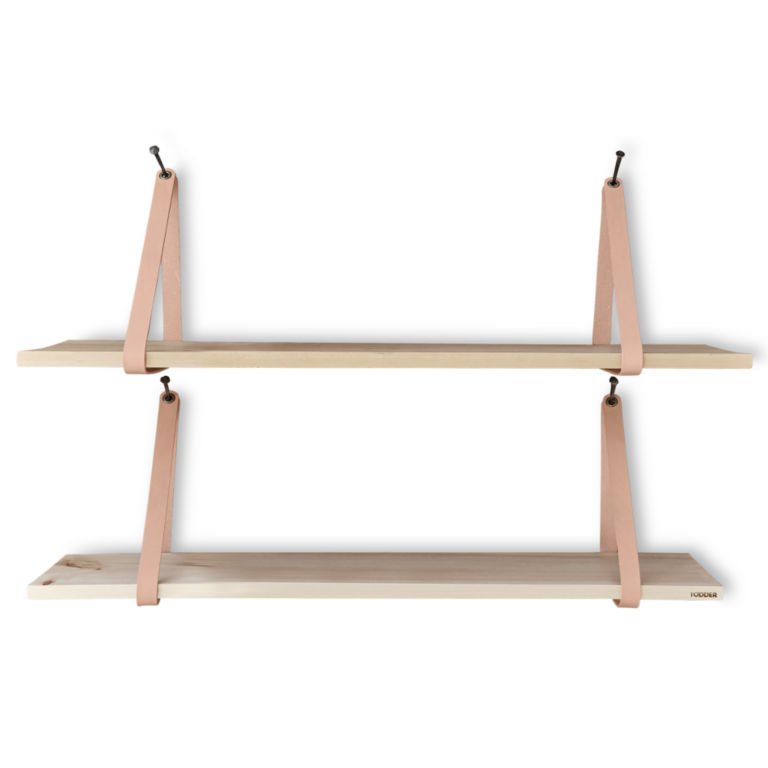 Suspended Wood and Leather Shelf -  image number 2