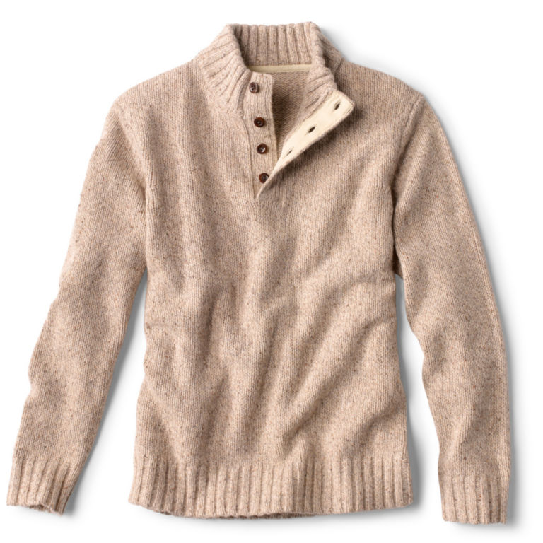 Donegal Button Mock Pullover - OATMEAL image number 0