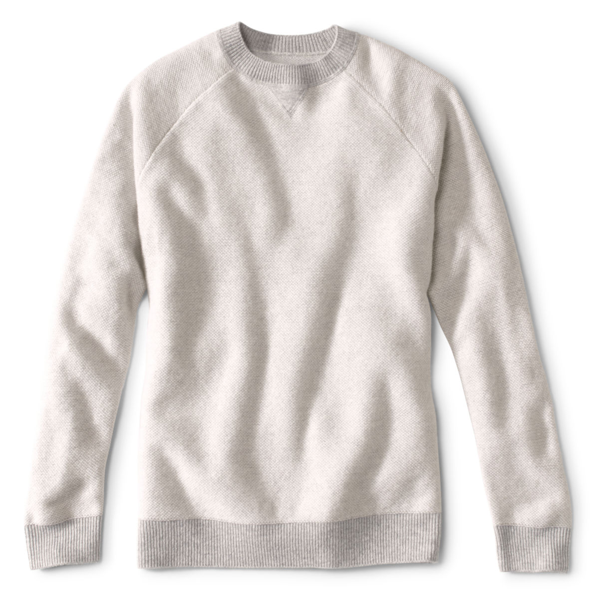 Wool/Cashmere Two-Tone Notch Crew - LIGHT GRAYimage number 0