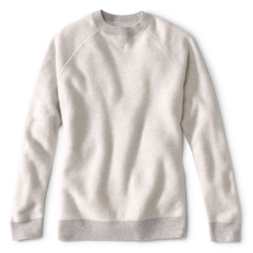 Wool/Cashmere Two-Tone Notch Crew - LIGHT GRAY image number 0